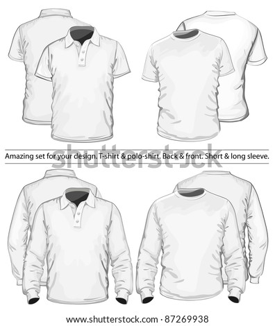 Amazing vector set. Men's polo-shirt and t-shirt design template (front and back view). Long and short sleeve. No mesh.