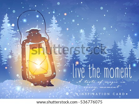 Amazing vintage lantern on snow with magical lights at the winter spruce forest background. Snowfall. Unusual inspiration vector for Christmas greeting card, wedding, date, birthday or holiday party
