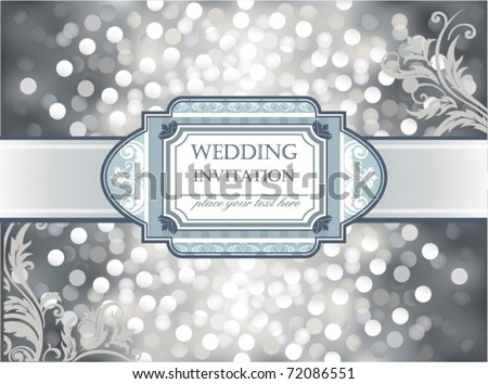 stock vector Amazing Wedding invitation or greeting card on silver