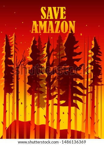 Amazon rain forest fire 2019 illustration in vector file