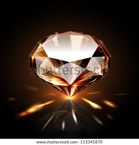 Amber colored sparkling diamond - stock vector