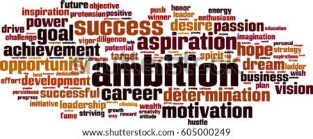 Ambition word cloud concept. Vector illustration