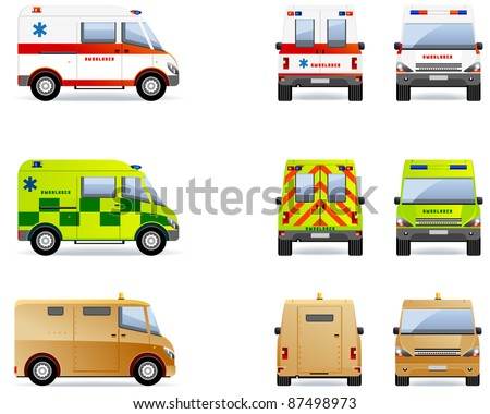 ambulance and cash van  set of