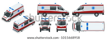 Ambulance Car. An emergency medical service, administering emergency care to those with acute medical problems. Side view, top, roof, rear, front, isometric