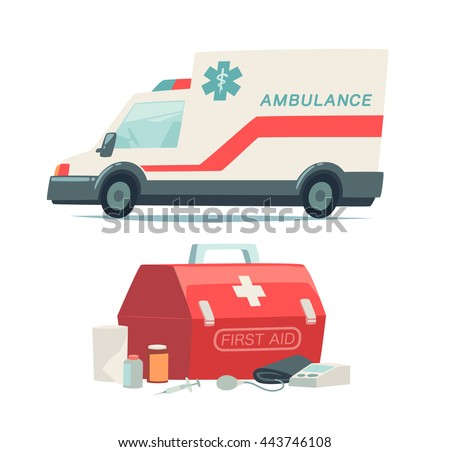 Ambulance car and first aid kit icons. Isolated objects on white background in flat cartoon style. Vector illustration.