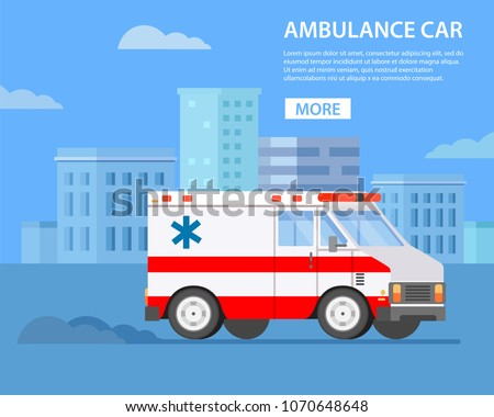 Ambulance car. Hospital transport medical care clinic. City landscape with skyscrapers. Vector in flat style.