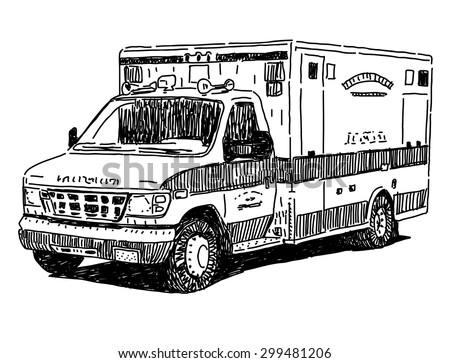 Ambulance Car Drawing Ambulance Car Vector Drawing