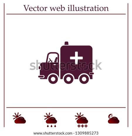 Ambulance car, vector icon.