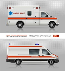 Ambulance cars vector mock-up for advertising, corporate identity. Isolated medical vans template on transparent background. Vehicle branding mockup