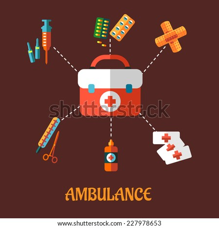 Ambulance concept with a vector flat icons of a first aid kit surrounded by its contents  plasters, medication, forceps, syringe and tablets depicting healthcare. For medicine and infographic design