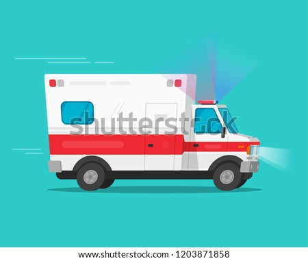 Ambulance emergency car moving fast vector illustration, flat cartoon comic medical vehicle auto with flasher light or siren isolated
