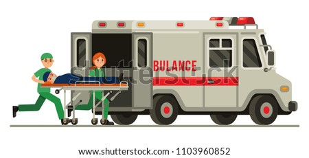 Ambulance emergency paramedic carrying patient in stretcher flat style vector illustration