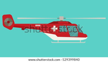 Ambulance helicopter in flat style. Vector illustration.