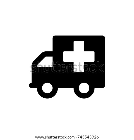 Ambulance Icon, Ambulance icon vector, in trendy flat style isolated on white background. Ambulance icon image, Ambulance icon illustration