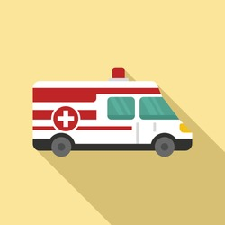 Ambulance icon. Flat illustration of ambulance vector icon for web design