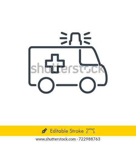 Ambulance Icon / Vector - In Line / Stroke Design with Editable Stroke