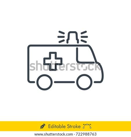 Ambulance Icon / Vector - In Line / Stroke Design with Editable Stroke