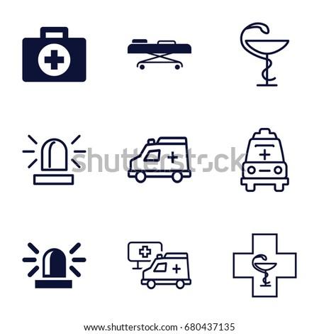 Ambulance icons set. set of 9 ambulance filled and outline icons such as siren, hospital stretch, ambulance, medicine, hospital, pharmacy