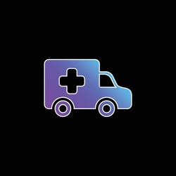 Ambulance Side View blue gradient vector icon