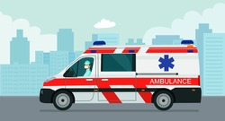 Ambulance van with a driver in a medical mask against the background of an abstract cityscape. Vector flat style illustration.