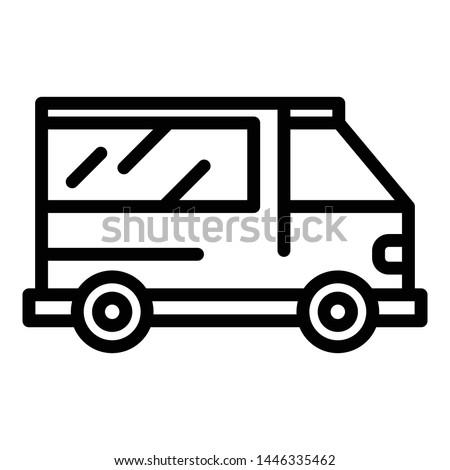 Ambulance vehicle icon. Outline ambulance vehicle vector icon for web design isolated on white background