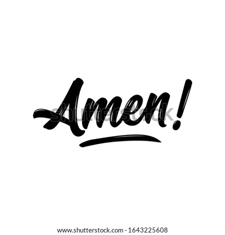 Amen - Hand written Vector calligraphy lettering text in cross shape. Christianity quote for design. Typography poster. Tattoo. Сток-фото ©
