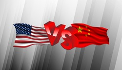 America and China trade war background template.