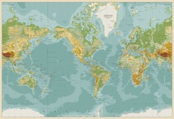 America Centered Physical World Map. Vintage Color. Vector illustration.