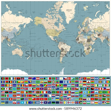 Continent map collection download free vector art stock graphics america centered world map and all world flags retro colors all elements are separated gumiabroncs Choice Image