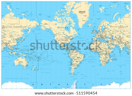 America Centered World Map. Highly detailed vector illustration of Physical World Map.