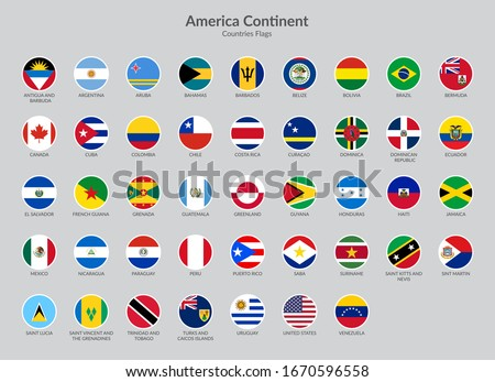 America Continent Countries flag icons collection Foto stock ©