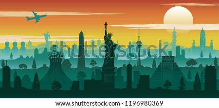 america famous landmark silhouette style with row design on sunset time,vector illustration