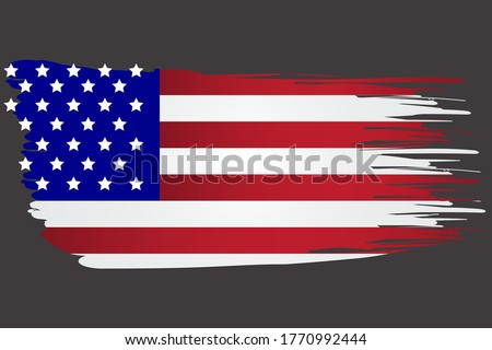 America flag in brush style. Torn USA Symbol. Watery grunge state image. Vector template. Photo stock ©