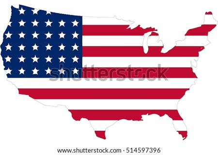 america flag in usa map the