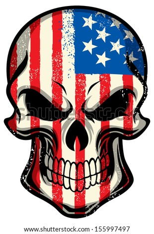 america flag painted on a skull