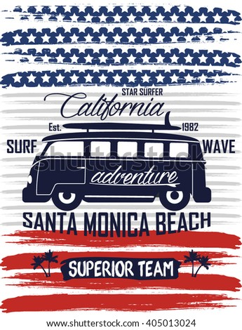 america flag surf bus  superior