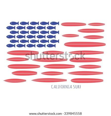 america flag surf typography  t