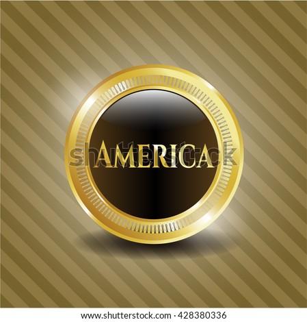 America gold shiny emblem