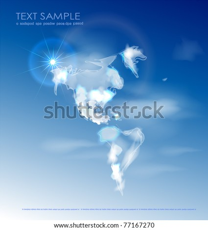 america map made of clouds - stock vector