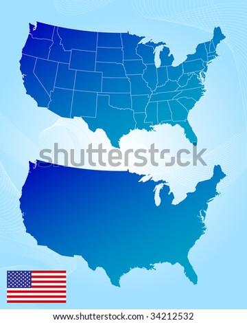 America maps and flag