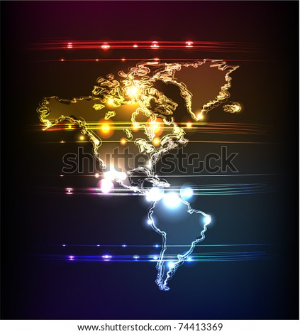America neon collection - stock vector