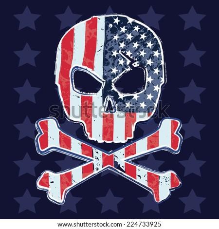 america skull flag  typography