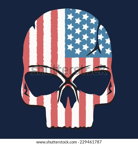 america skull illustration  t