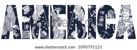 America slogan. Statue of liberty, eagle, flag, map. History and culture. Traditional USA patriotic concept. United States of America art. Old school tattoo vector style  Foto stock ©