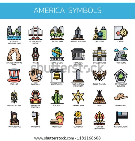 America Symbols , Thin Line and Pixel Perfect Icons