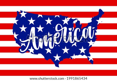 America - USA flag in United States map shape - Independence Day USA with motivational text. Good for T-shirts, Happy July 4th. Independence Day USA holiday. United States of America. LOVE the usa. Stock photo ©