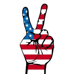 America victory finger , t-shirt graphics, vectors art