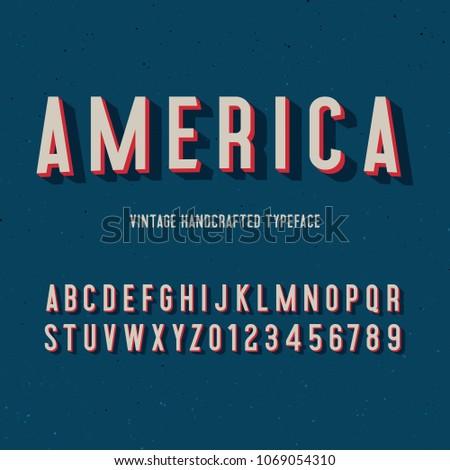 america vintage handcrafted 3d alphabet. retro font. vector illustration
