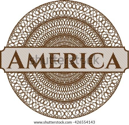 America written inside rosette