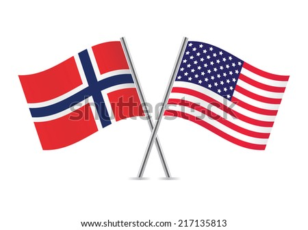 american and norwegian flags